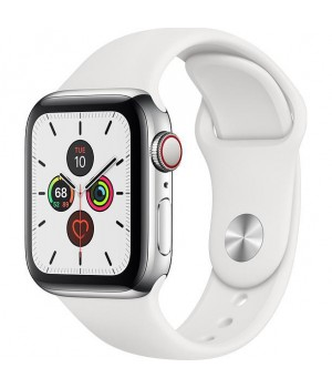 Apple Watch Series 5 40mm GPS + LTE Stainless Steel Case with White Band (MWWR2)