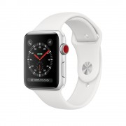 Apple Watch Series 3 GPS + Cellular 38mm Silver Aluminum Case with White Sport Band (MTGG2)