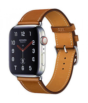 Apple WATCH Hermes Series 4 GPS + LTE 40mm Stainless Steel Case with Fauve Barenia Leather Single Tour (MU6M2)