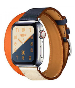 Apple WATCH Hermes Series 4 GPS + LTE 40mm Stainless Steel Case with Indigo/Craie/Orange Swift Leather Double Tour (MU7K2)