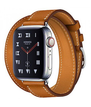 Apple WATCH Hermes Series 4 GPS + LTE 40mm Stainless Steel Case with Fauve Barenia Leather Double Tour (MU6P2)