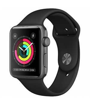 Apple WATCH Series 3 38mm Space Gray Aluminium Case with Black Sport Band (MTF02)