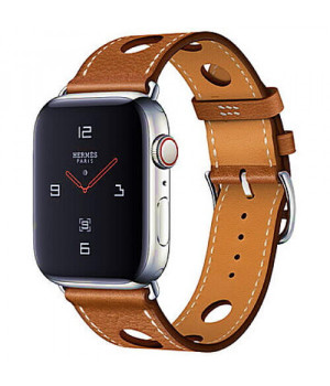 Apple WATCH Hermes Series 4 GPS + LTE 44mm Stainless Steel Case with Fauve Grained Barenia Leather Single Tour Rallye (MU9D2)