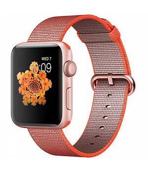 Apple WATCH Series 2 42mm Rose Gold Aluminium Case with Orange/Anthracite Woven Nylon Band (MNPM2)