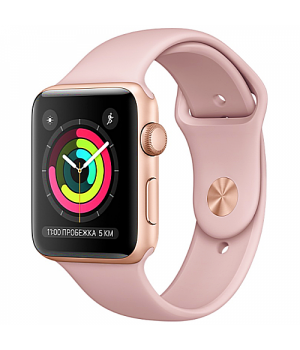 Apple WATCH Series 3 42mm Gold Aluminium Case with Pink Sand Sport Band (MQL22)