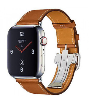 Apple WATCH Hermes Series 4 GPS + LTE 44mm Stainless Steel Case with Fauve Barenia Leather Single Tour Deployment Buckle (MU6T2)