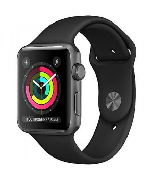 Apple WATCH Series 3 42mm Space Gray Aluminium Case with Black Sport Band (MTF32)
