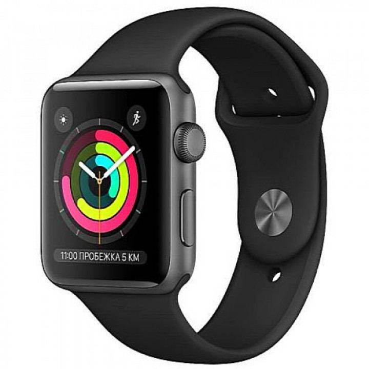 Apple WATCH Series 3 42mm Space Gray Aluminium Case with Black Sport Band (MTF32) Уценка