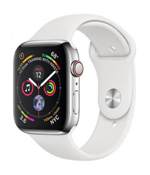 Apple WATCH Series 4 GPS + LTE 44mm Stainless Steel Case with White Sport Band (MTV22/MTX02 )