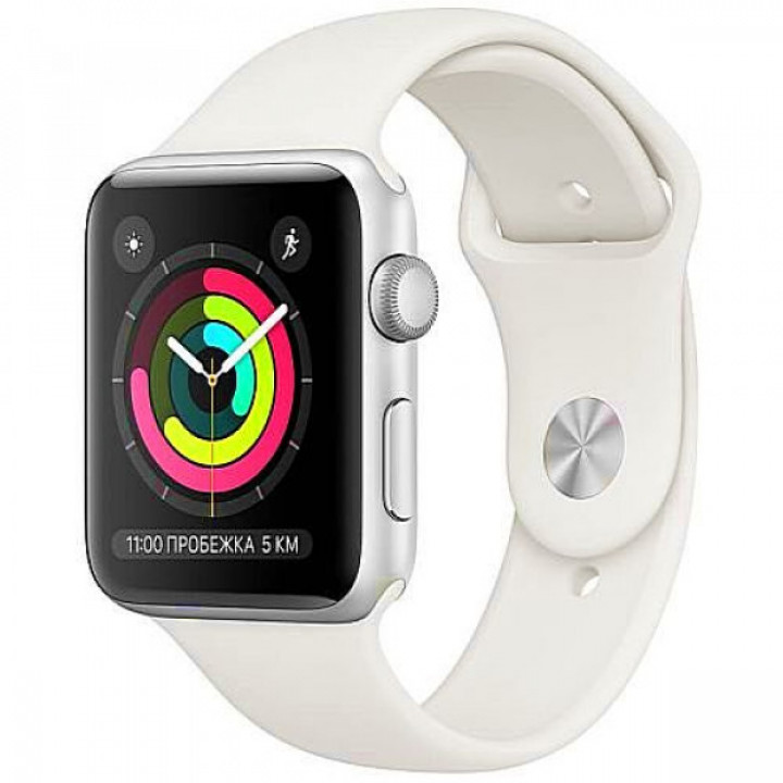 Apple WATCH Series 3 42mm Silver Aluminium Case with White Sport Band (MTF22) A, Б/У