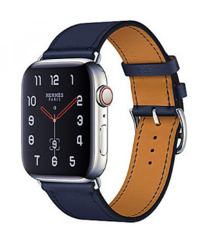 Apple WATCH Hermes Series 4 GPS + LTE 44mm Stainless Steel Case with Bleu Indigo Swift Leather Single Tour (MU6W2)